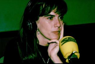 Gemma Nierga (1965 -), Spanish radio and television journalist, Gemma Nierga in radio studio.