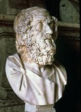 Homer (c. 850 a.C.), Greek epic poet, bust, Roman copy.