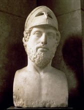 Pericles (495-429 BC), Athenian statesman and strategist, Roman copy of a Greek bust, 2nd BC.