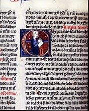 Book of Ruth, initial letter with miniature of a prophet, it comes from the Convent of Saint Cath?
