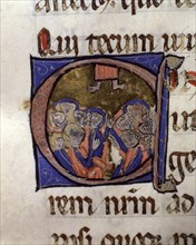The Ascension of Jesus, illuminated capital letter from 'Episcopal Sacramentary of Elna'. Handwri?