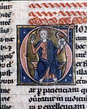 Christ in Majesty (Maiestas domini). Second illuminated capital letter in 'De Civitate Dei Libri ?