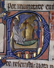 The Three Marys at the Tomb, illuminated capital letter in the 'Episcopal Sacramentary of Elna', ?