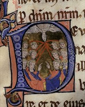 Whitsun, illuminated capital letter in the 'Episcopal Sacramentary of Elna', manuscript on parchm?