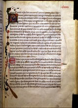 Page with an illuminated initial in the 'Llibre dels feyts del rey Jacme'.