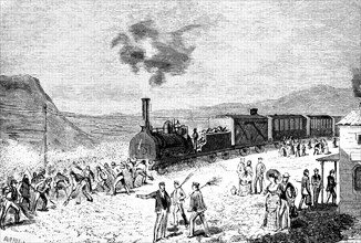 Railway line from Ciudad Real to Badajoz inaugurated in 1852, train stopped by a locust invasion ?