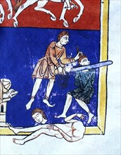 Man decapitating the enemy', detail of the scene 'The Siege of Jerusalem (c.597 b.C) by the troop?