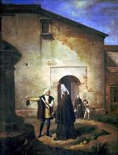 Christopher Columbus (1451 - 1506), navigator and explorer, oil painting 'Arrival at La Rabida fo?