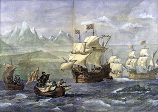 Discovery of the Magellan Strait, engraved in the 'Spanish and American Illustration'.