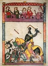 Fighting between knights, miniature in 'Cimelia Heidelbergensia'.