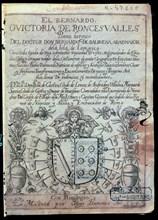 Cover of the 'Victoria de Roncesvalles' by Bernardo de Balbuena, first edition, printed by Diego ?