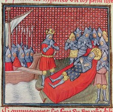 Saint Louis dies of plague during the Crusade against Tunisia on August 25, 1270. Miniature in th?