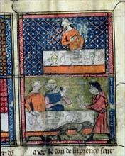 Lady with a table set for a banquet (quarter 2) and man and woman before a table and man with a h?