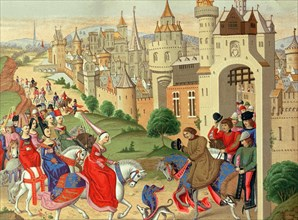 Elisabeth of Bavaria, Queen of England, is greeted upon his arrival in Paris by his brother, King?