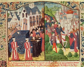 Funeral in Paris of Saint Louis or Louis IX, king of France (1270) and 'Entry of Charles V 'The W?