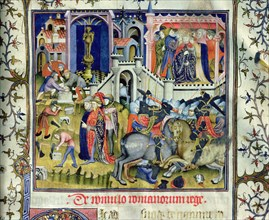 Foundation of Rome (c. 753aC), duel on horseback and coronation of a king. Miniature in 'De viris?