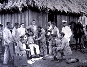 War of Cuba, healing of an injured seaman from the gunboat 'Vigia' in Cayetano nursing, in 'La Il?