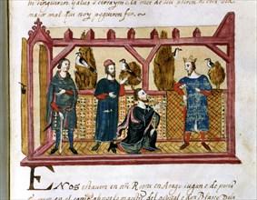 Interview in Alcañiz of King James I the Conqueror (1213 - 1276) with Hugo de Forcalquer and Blas?