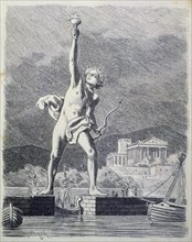 The Colossus of Rhodes, 32 meters high, work by the sculptor Cares of Lindos situated at the entr?