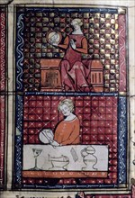 Lady sitting with a dove (1st Quarter) and man cutting bread on a table (3rd quarter). Miniature ?
