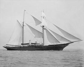 The 1894 built schooner 'Xarifa' under sail, 1899. Creator: Kirk & Sons of Cowes.