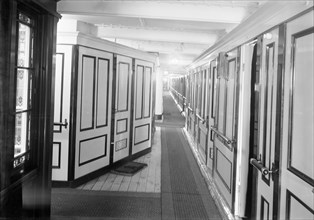 Corridor and cabins on 'SS Insulinde', 1914. Creator: Kirk & Sons of Cowes.