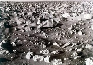 Rock-strewn Martian surface, Viking Lander mission, 1970s. Creator: NASA.