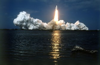 Space Shuttle 'Columbia' lifting off, Kennedy Space Center, Merritt Island, Florida, USA, 1980s. Creator: NASA.