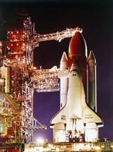 Orbiter 'Challenger' on launch pad, Kennedy Space Center, Merritt Island, Florida, USA, 1980s. Creator: NASA.