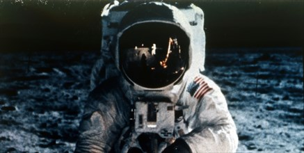Buzz Aldrin on the Moon, Apollo II mission, July 1969.  Creator: Neil Armstrong.
