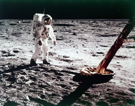 Buzz Aldrin near the leg of the Lunar Module on the Moon, Apollo 11 mission, July 1969. Creator: Neil Armstrong.