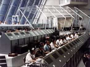 Launch Control Center in the John F Kennedy Space Center, Florida, USA, July 1969.  Creator: NASA.