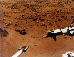 Sample scoop and arm, Viking 1 Mission to Mars, 1976. Creator: NASA.