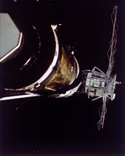 Missing solar array on Skylab 2, 1973. Creator: NASA.