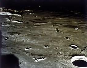 Lunar Module approaching landing site on the Moon, Apollo II mission, July 1969. Creator: NASA.