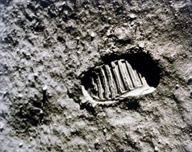 The first footprint on the Moon', Apollo 11 mission, July 1969.  Creator: NASA.