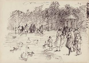 Swans on the Round Pond in Kensington Gardens, London, c1950. Creator: Shirley Markham.