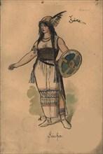 Sarka. Costume design for the opera Sarka by Zdenek Fibich, 1897.