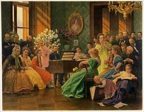 Bedrich Smetana in circle of friends in 1865, 1923.