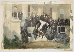 The coffin of Prince Ferdinand Philippe d'Orléans leaves the Château de Clermont, 1842.