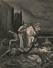 My teacher sage aware, thrusting him back', c1890.