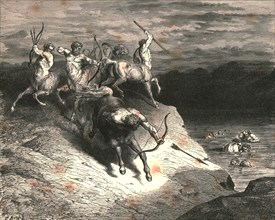 We to those beasts, that rapid strode along, drew near, when Chiron took an arrow forth', c1890.