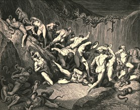 Amid this dread exuberance of woe ran naked spirits wing'd with horrid fear', c1890.