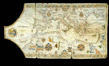 Portolan chart of the Mediterranean Sea, the Black Sea, Sea of Azov?, 16th century.
