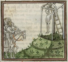 The execution of Enguerrand de Marigny. From Grandes Chroniques de France , 14th century.