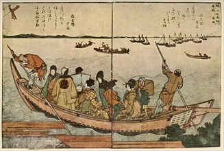 Passengers on a boat crossing the Sumida River in Japan, c1804, (1924).
