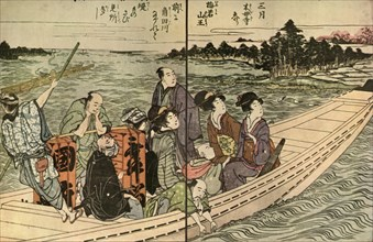 People travelling in a boat, 1804, (1924).
