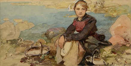 On the shore, c. 1900.