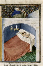 The monk sleeps with the wife while the husband is praying, 1460s.