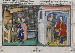 Corruption. Miniature from Le livre appellé Decameron by Giovanni Boccaccio, 1460s.